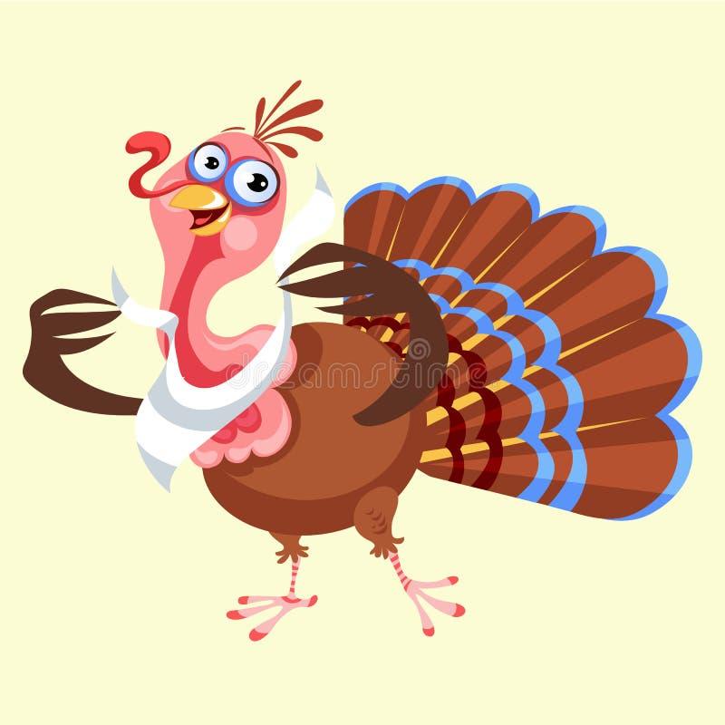 动画片感恩在餐巾,在飞行物的秋天假日鸟传染媒介例证愉快的问候文本的火鸡字符或 皇族释放例证