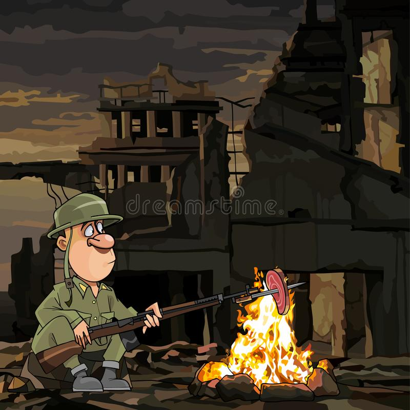 动画片战士在火的烤肉,当坐在废墟时 向量例证