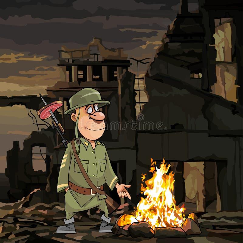 动画片战士坚持在废墟的篝火 向量例证