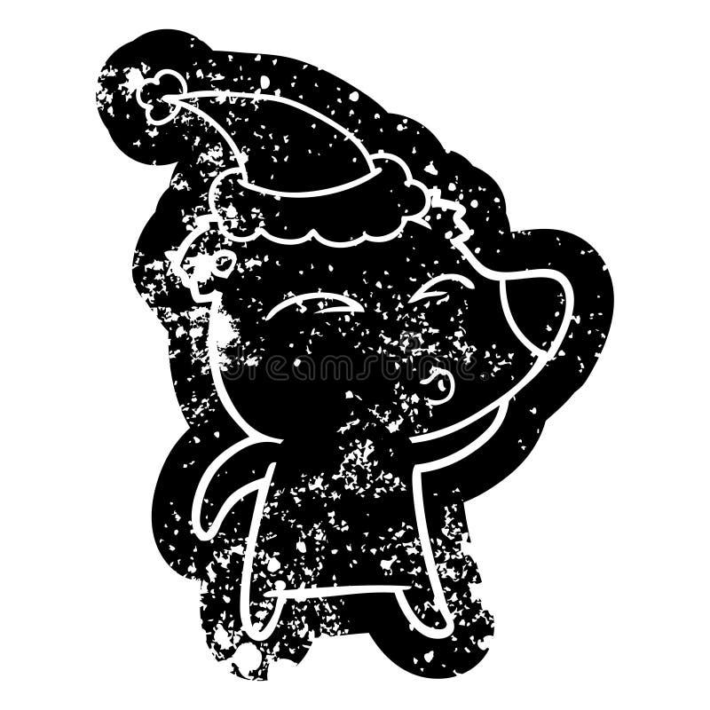 动画片戴圣诞老人帽子的一头吹哨的熊的困厄的象 皇族释放例证
