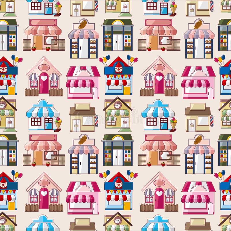 动画片房子模式无缝的界面 库存例证