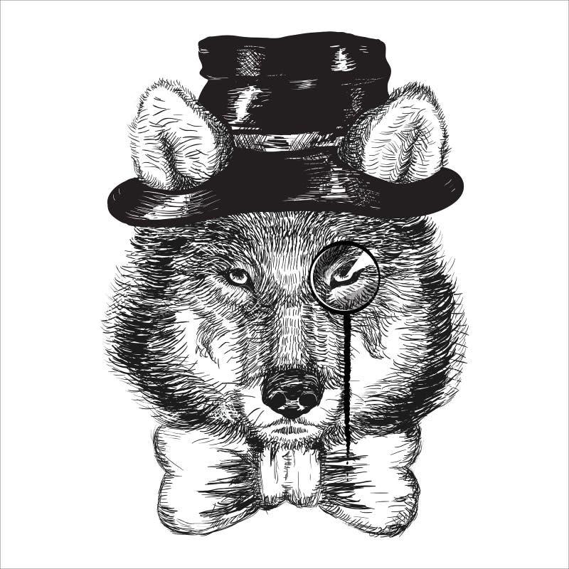 动画片手拉的动物行家野生狼 向量例证