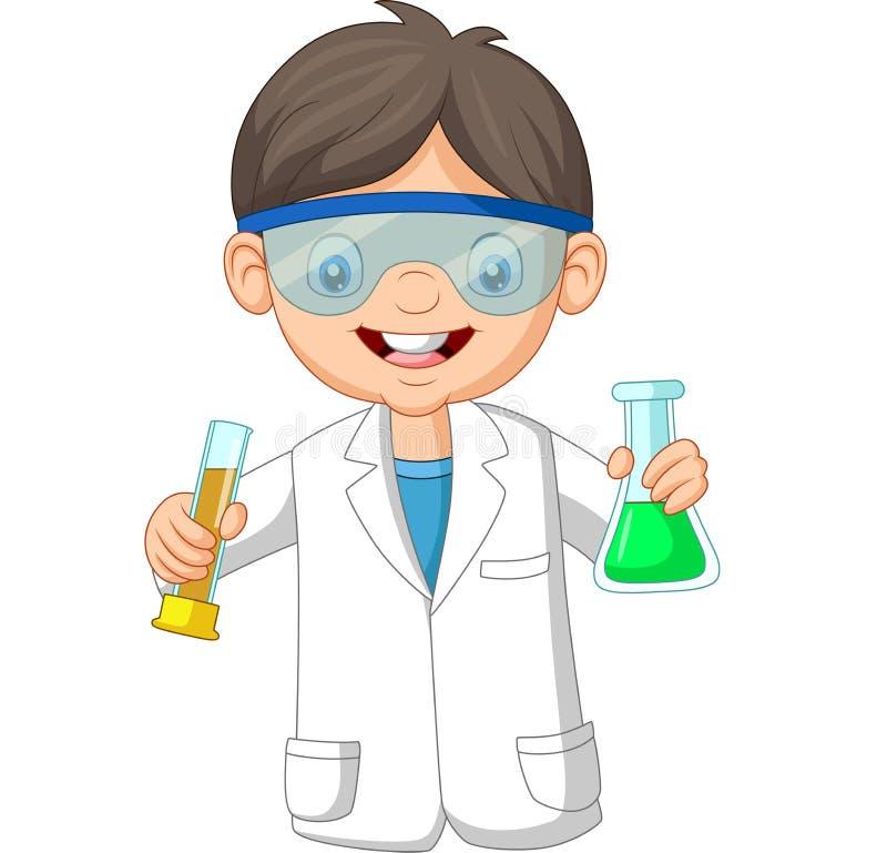 动画片拿着两试管的男孩科学家 库存例证