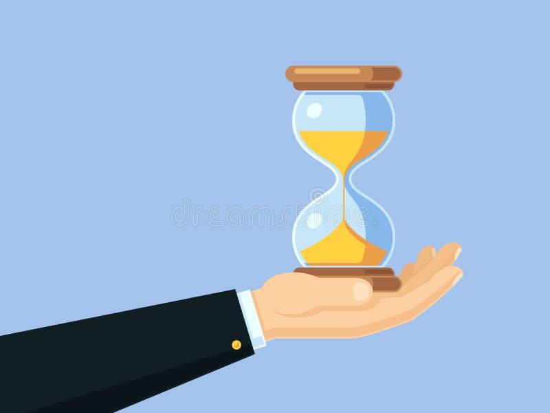 动画片拿着古色古香的滴漏的商人手 时间安排传染媒介与沙子时钟的企业概念 皇族释放例证