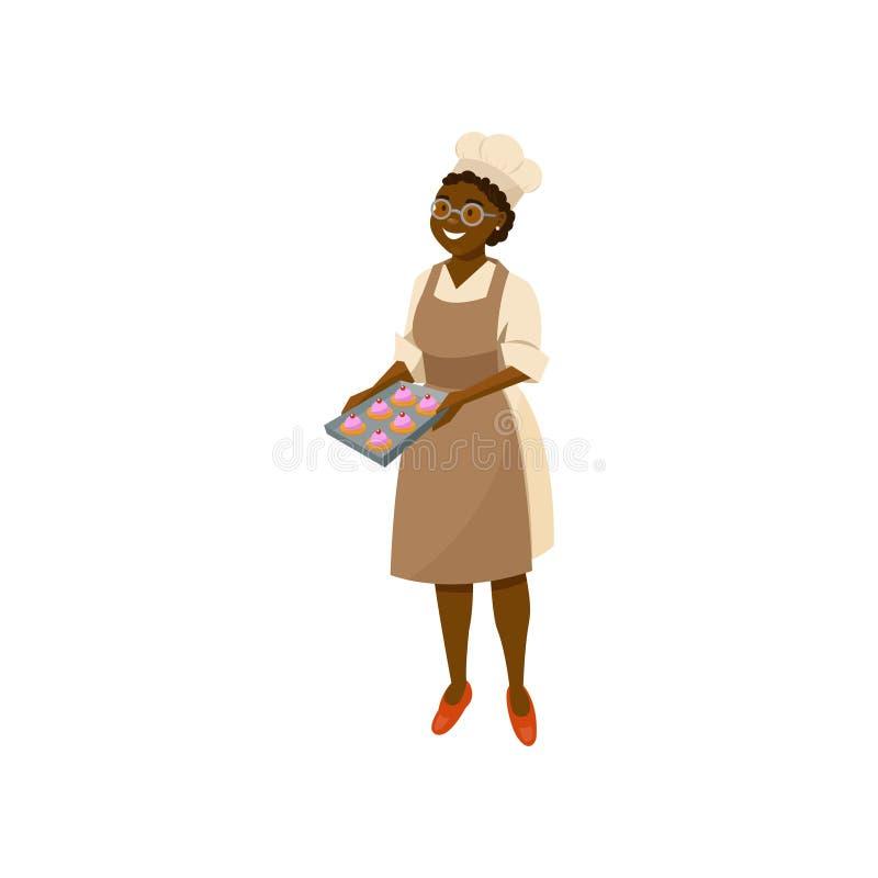 动画片拿着盘子用新近地被烘烤的杯形蛋糕的夫人厨师 在玻璃、厨师帽子、礼服和褐色的黑人妇女字符 向量例证