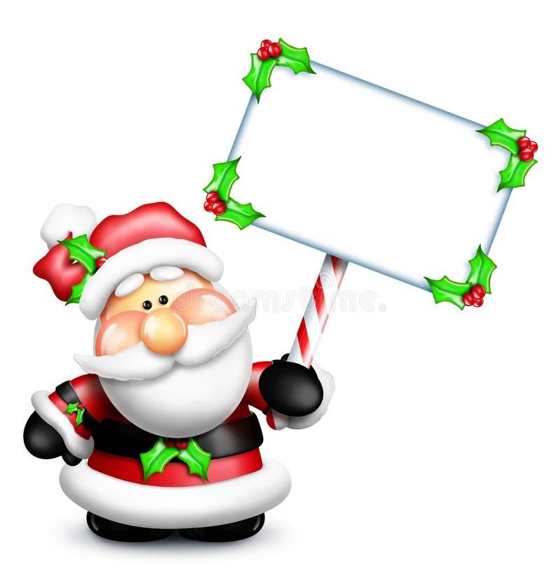 动画片拿着空白符号的圣诞老人 库存例证