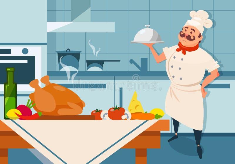 动画片拿着银色盘的厨师字符手中 餐馆s与家具和器物的厨房内部 新鲜 向量例证