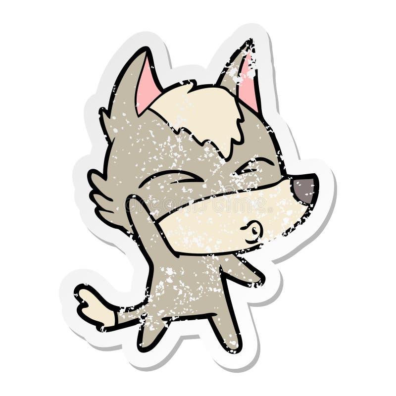 动画片挥动的狼吹口哨的困厄的贴纸 皇族释放例证