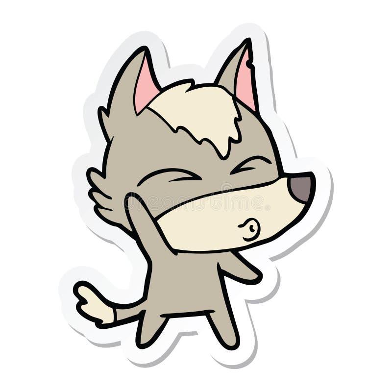 动画片挥动的狼吹口哨的贴纸 库存例证