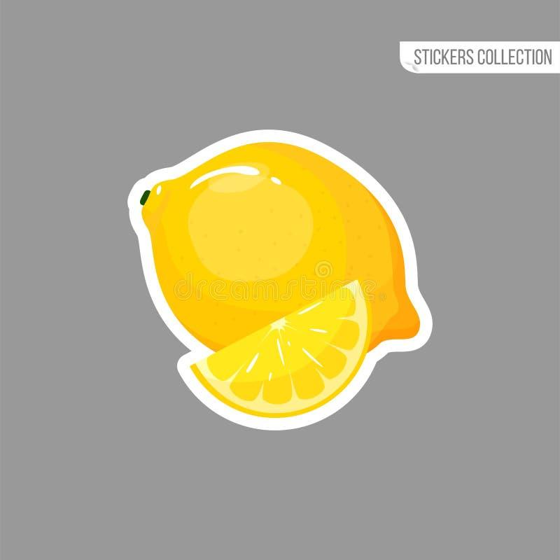 动画片新鲜的柠檬被隔绝的贴纸 向量例证
