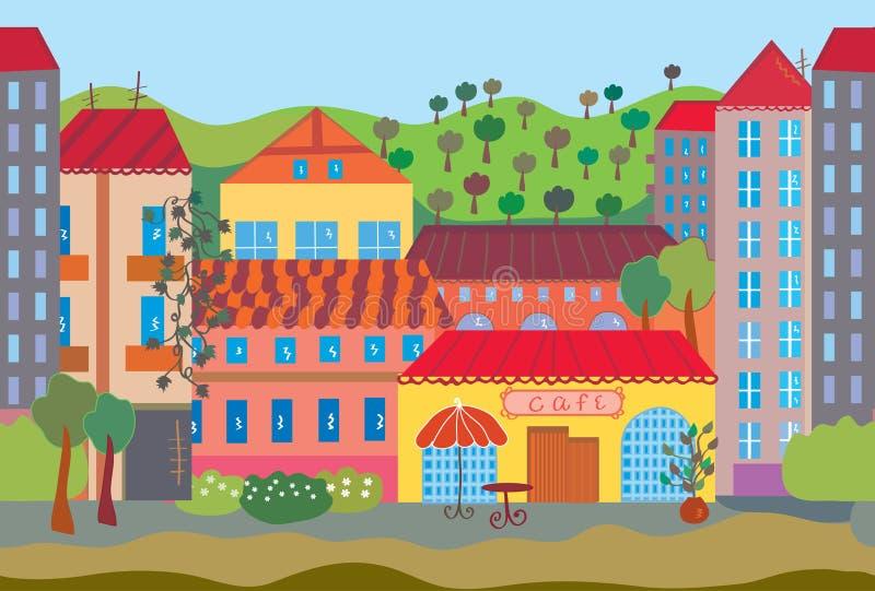 动画片无缝城市的模式 库存例证