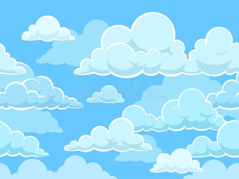 动画片无缝的云彩背景 与蓝色多云天空的样式 Cloudscape全景,逗人喜爱的孩子贴墙纸或布料 向量例证