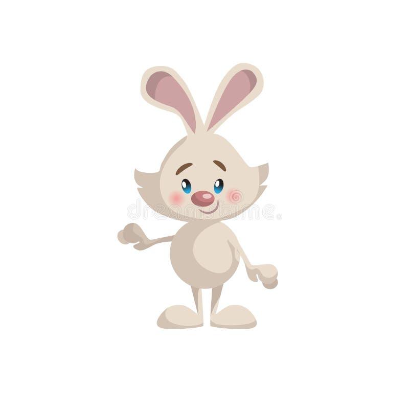 动画片时髦样式逗人喜爱的身分和微笑的兔宝宝吉祥人象 简单的梯度传染媒介例证 库存例证