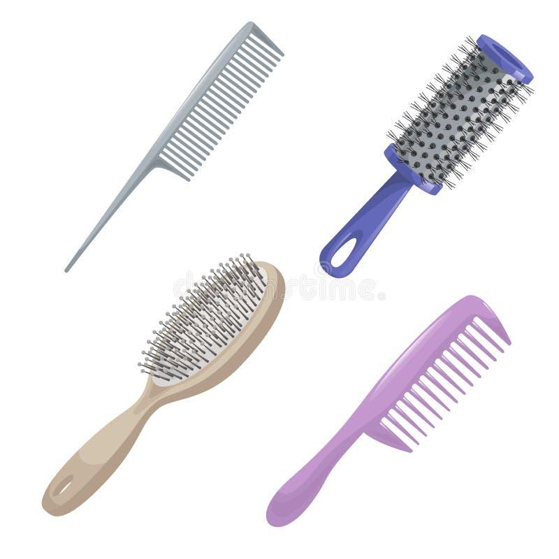 动画片时髦设计haircare象集合 金属和塑料梳子、圆筒和称呼辅助部件工具的刷子头发 向量例证