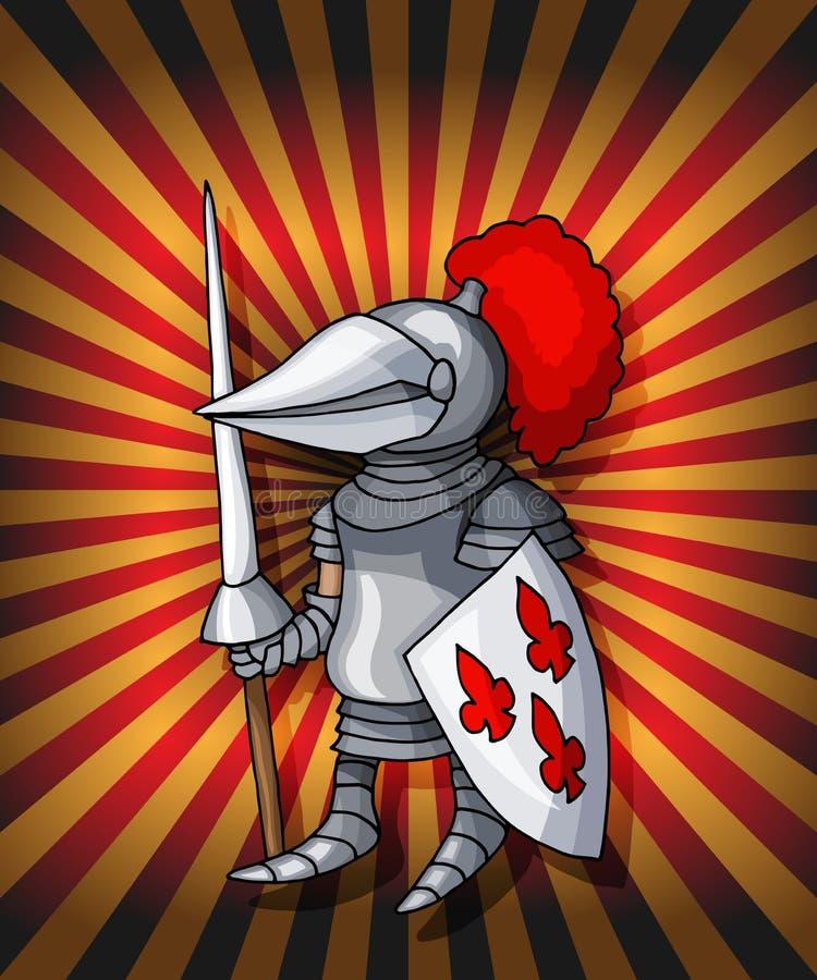 动画片明信片骑士 在闪烁的红灯的皇家钢烈士装甲 皇族释放例证