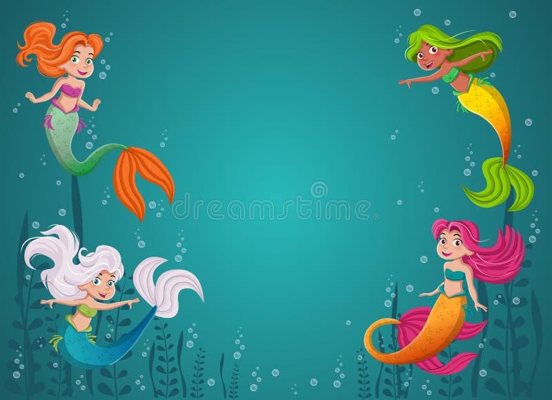动画片有五颜六色的头发的美人鱼公主 美人鱼儿童游泳 库存例证