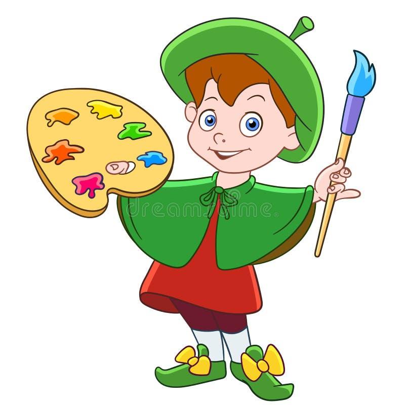 动画片有刷子和色板显示的男孩画家 库存例证