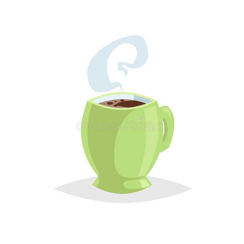 动画片有热的饮料的样式杯子 咖啡或茶 时髦装饰设计 伟大为咖啡馆菜单 有蒸汽的绿色杯子 库存例证