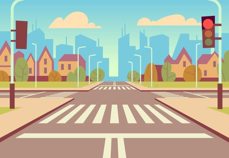 动画片有红绿灯、边路、行人穿越道和都市风景的城市交叉路 汽车通行传染媒介的空的路 向量例证