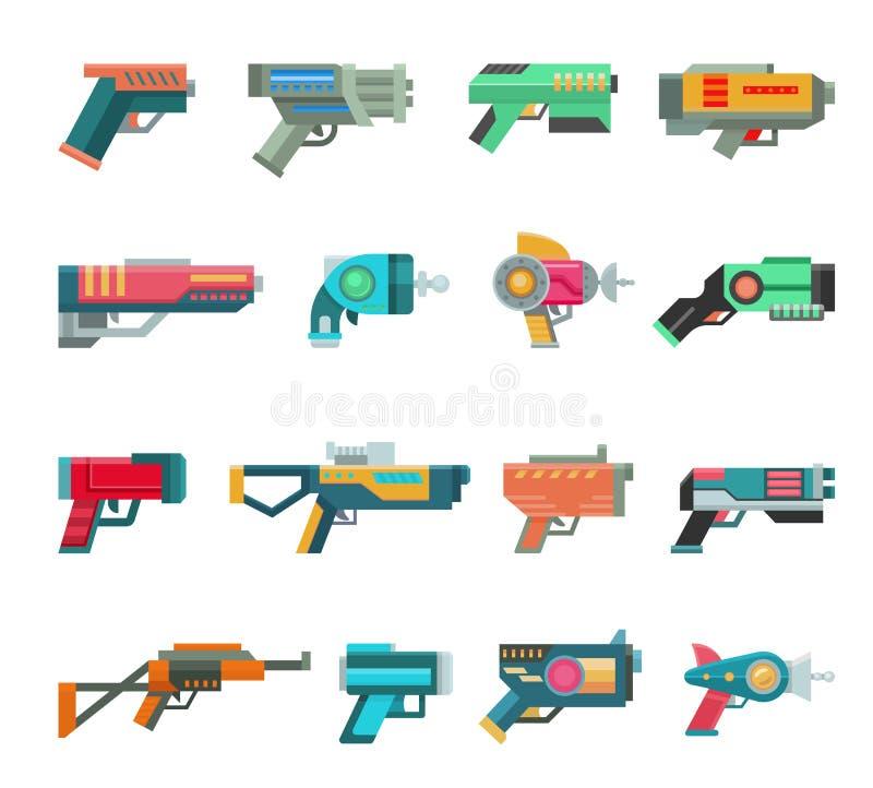 动画片枪传染媒介孩子比赛的玩具爆裂药与外籍人未来派手枪和儿童raygun空间例证的 皇族释放例证