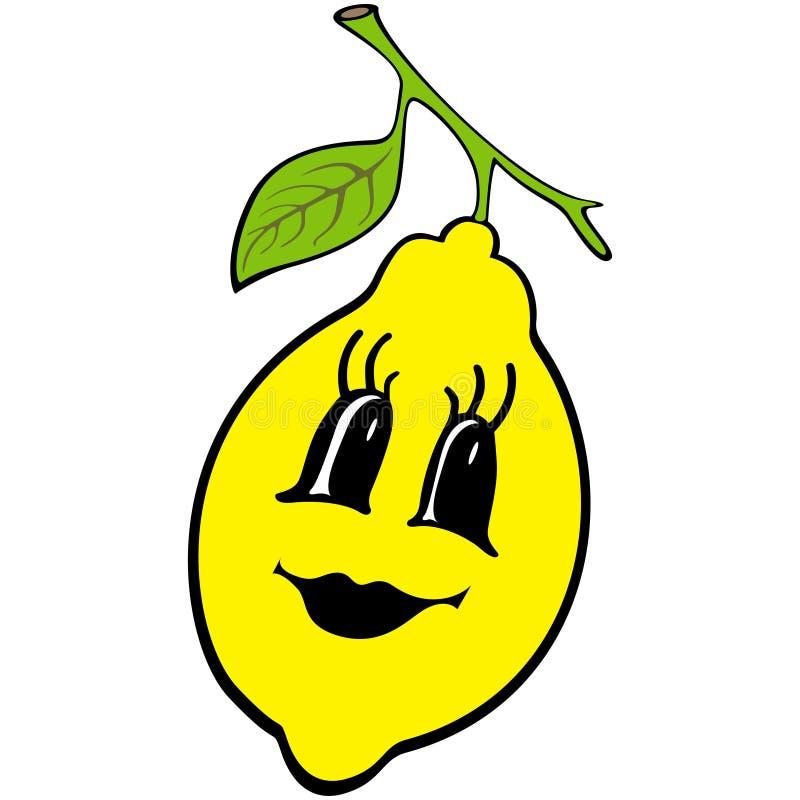 动画片柠檬 愉快的果子标志 Eco食物象 孩子彩图的,T恤杉印刷品,标签,贴纸设计元素 库存例证