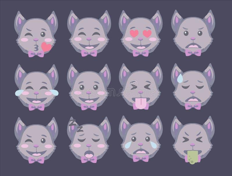 动画片样式传染媒介意思号套万圣节用不同的表示的棒面孔 库存例证