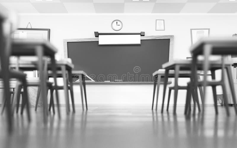 动画片样式的空的学校教室 没有学生的教育概念 3d回报内部黑白例证 backarrow 向量例证