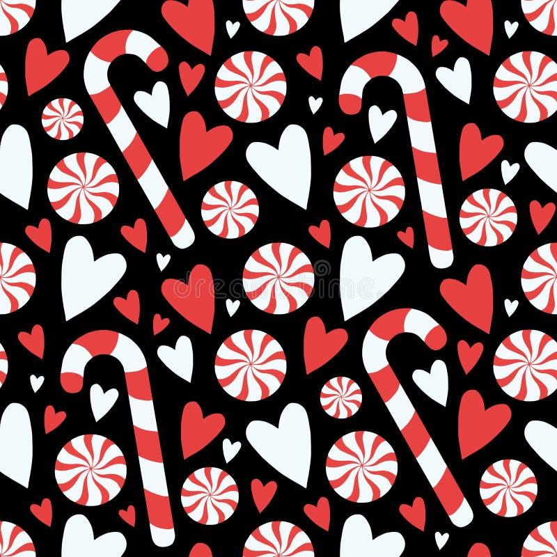 动画片样式黑色与心脏无缝的季节性圣诞节图表例证样式的棒棒糖和薄荷转弯 库存例证