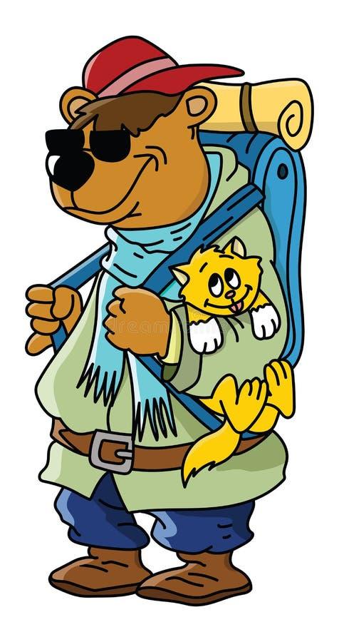 动画片棕熊去野营与他的猫朋友传染媒介 库存例证