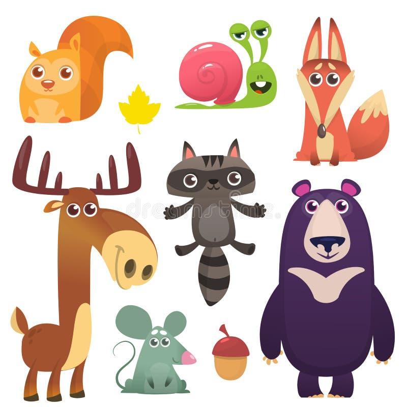 动画片森林动物集合 皇族释放例证