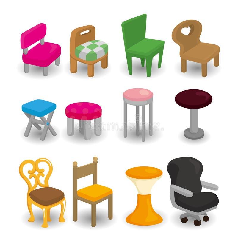 动画片椅子家具图标集 库存例证