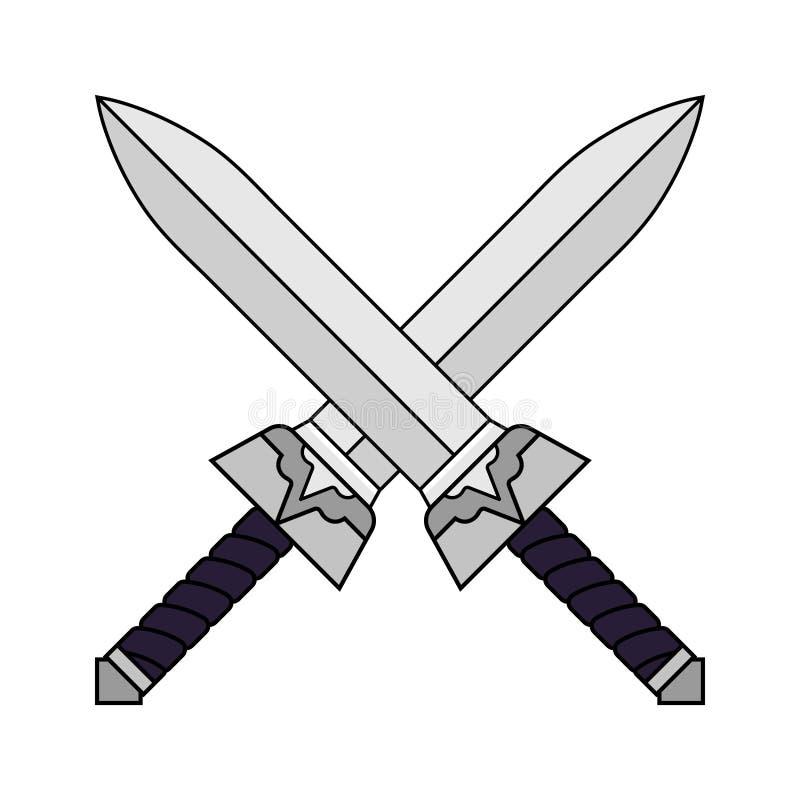 动画片横渡了在白色背景隔绝的剑 电脑游戏设计的武器 中世纪剑 也corel凹道例证向量 向量例证