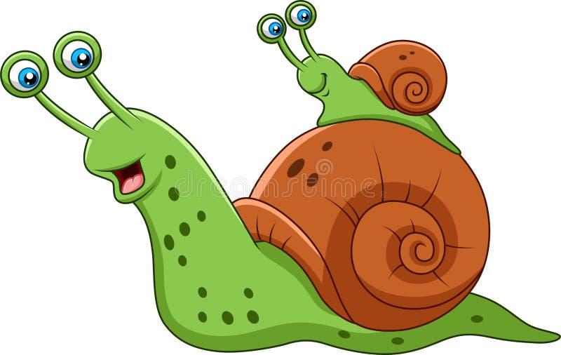 动画片母亲蜗牛和她的婴孩 向量例证
