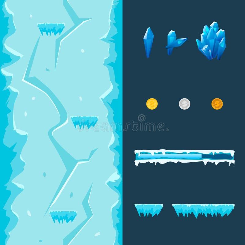 动画片比赛冰洞平实发电器:无缝的垂直的背景,平台,硬币,宝石,进展酒吧 库存图片