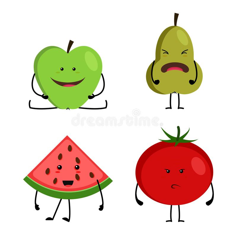 动画片水果和蔬菜,滑稽的愉快的面孔的汇集 向量例证