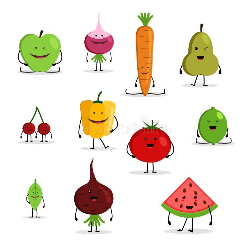 动画片水果和蔬菜,滑稽的面孔的汇集 皇族释放例证