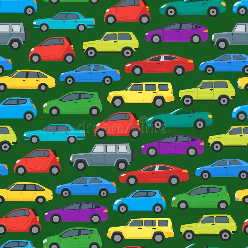 动画片汽车在绿色的背景样式 向量 皇族释放例证