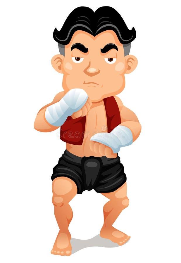 动画片泰国拳击 向量例证