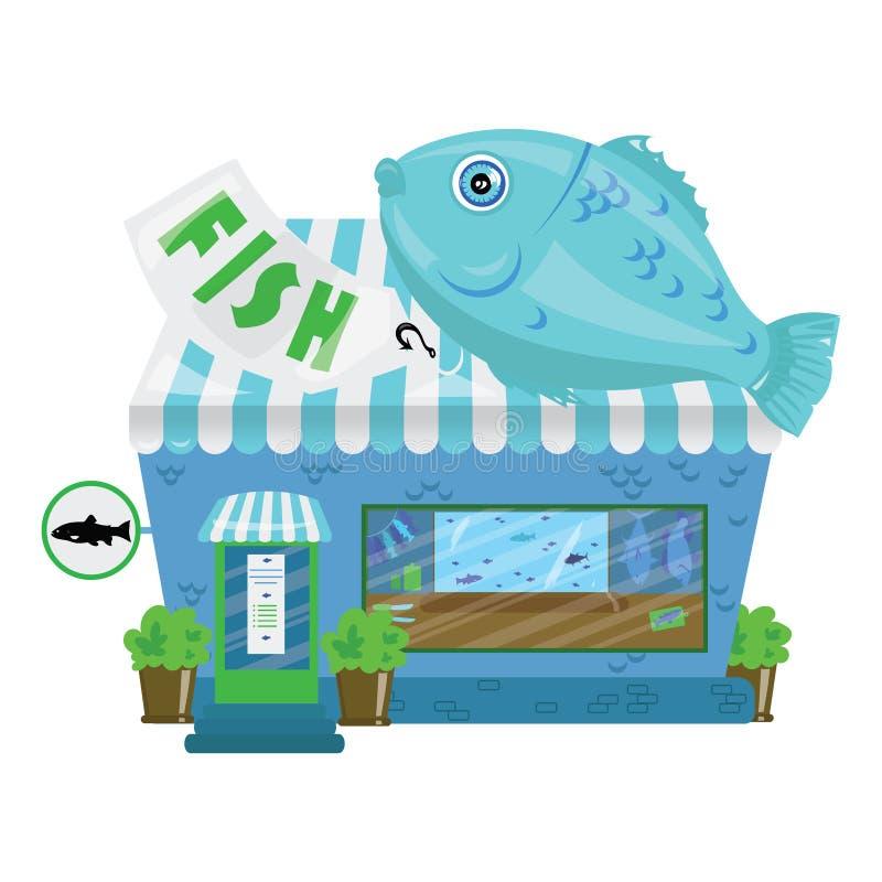 动画片海鲜商店 一个小逗人喜爱的鱼市 挥动白色的蓝色业务设计例证插入行动空间文本 向量例证