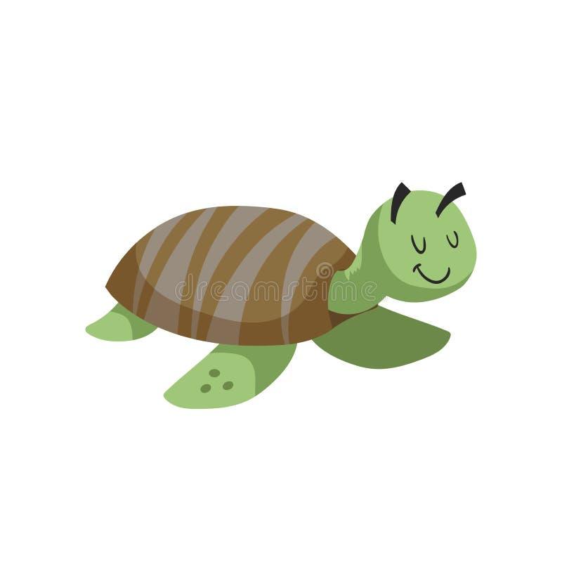 动画片海龟 时髦设计平的象海和海洋动物 快乐和闭合的眼睛 库存例证