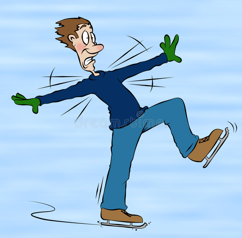 动画片滑冰 库存图片