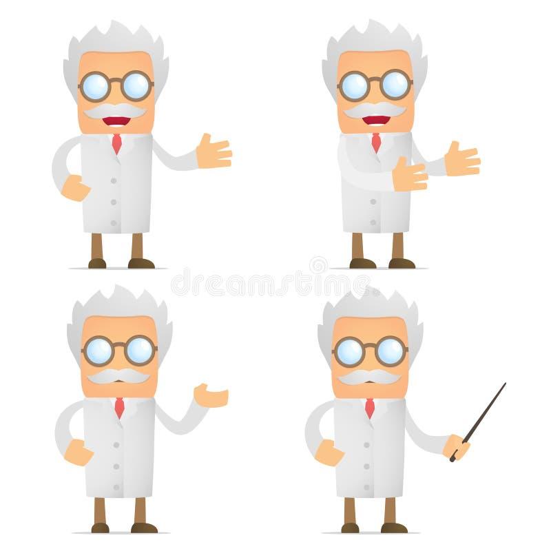 动画片滑稽的产生的介绍科学家 库存例证