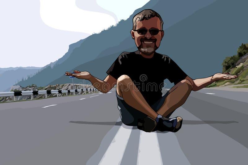 动画片滑稽的人坐车行道 向量例证