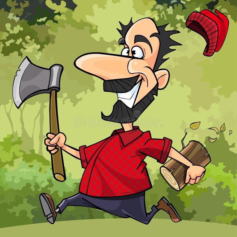 动画片滑稽的伐木工人通过有轴的森林跑 库存例证