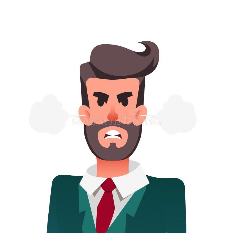 动画片滑稽的恼怒的办公室工作者 与吹从耳朵的蒸汽的愤怒的商人 年轻人体验愤怒 向量例证