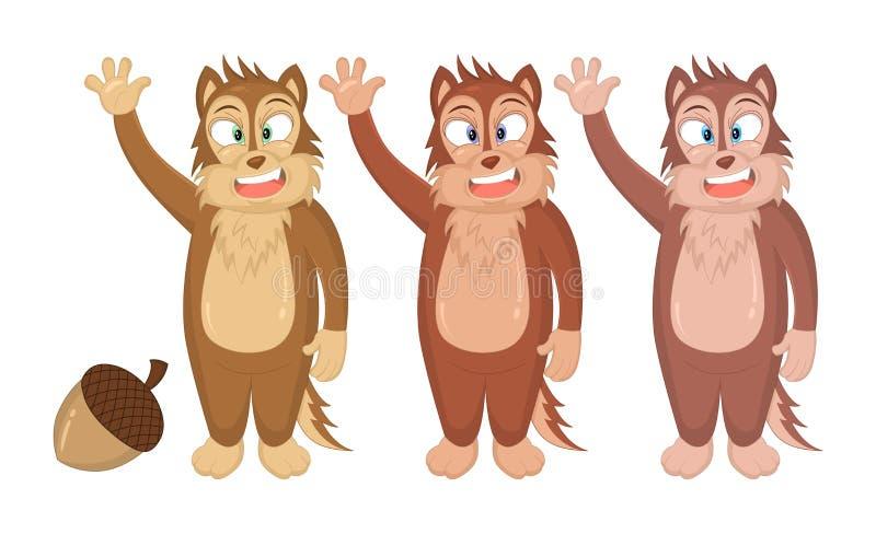 动画片滑稽的花栗鼠的传染媒介例证摇他们的手的 儿童图书的概念,童话当中,印刷品,象征,t嘘 向量例证