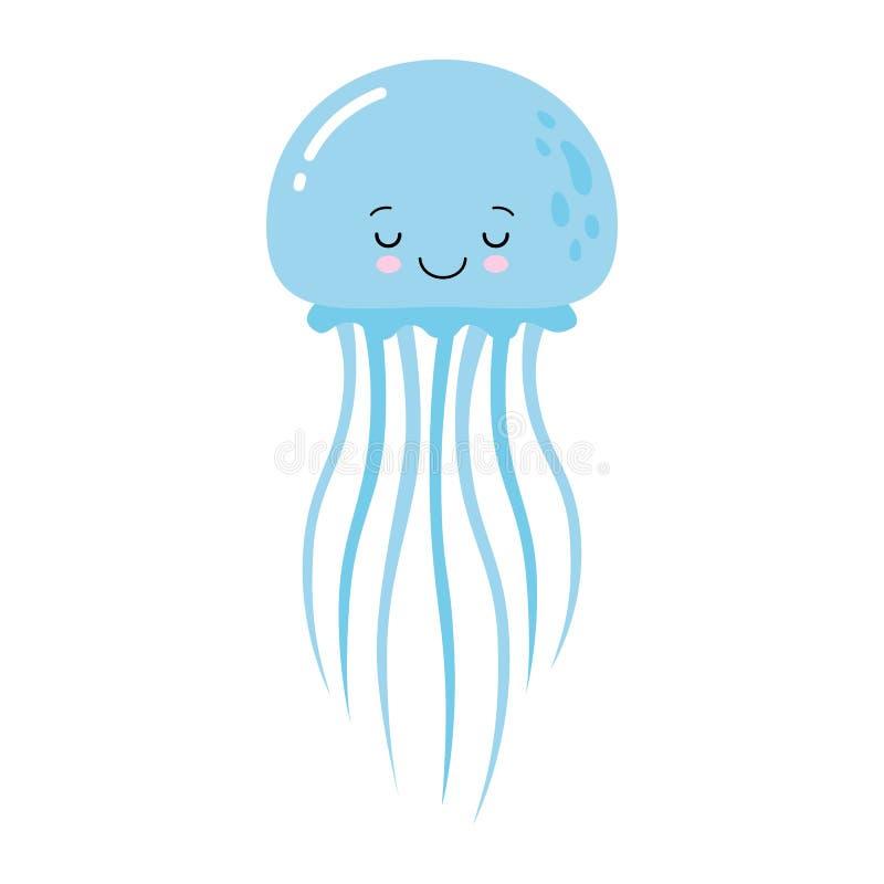 动画片滑稽的蓝色水母的传染媒介例证在白色背景隔绝的 Kawaii 向量例证