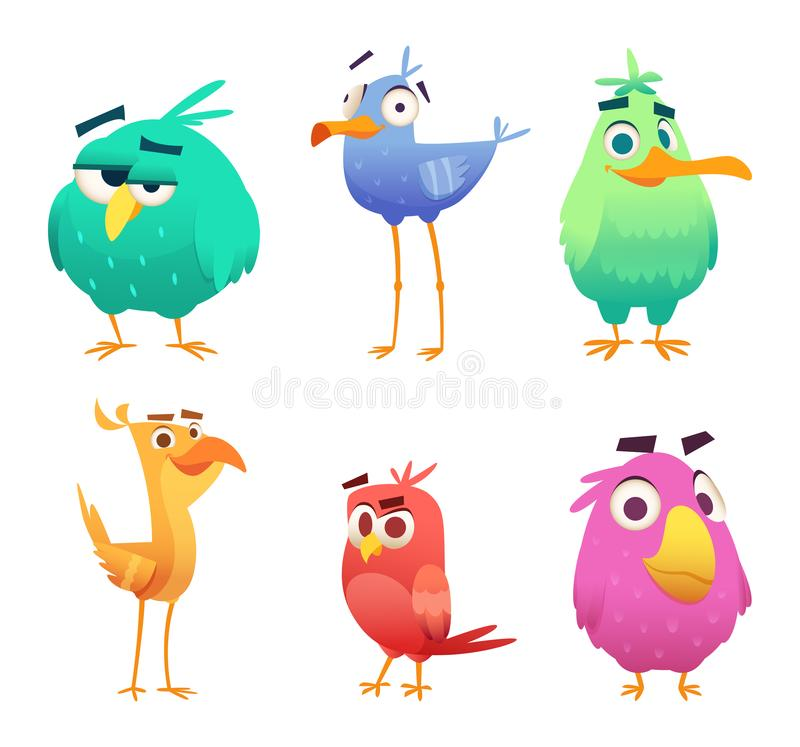 动画片滑稽的鸟 逗人喜爱的动物的面孔上色了小老鹰愉快的鸟 传染媒介被隔绝的clipart字符 向量例证