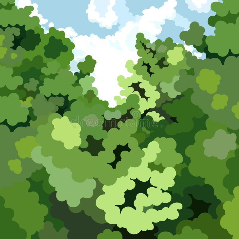 动画片灌木密集的绿色丛林夏天背景反对天空的 皇族释放例证