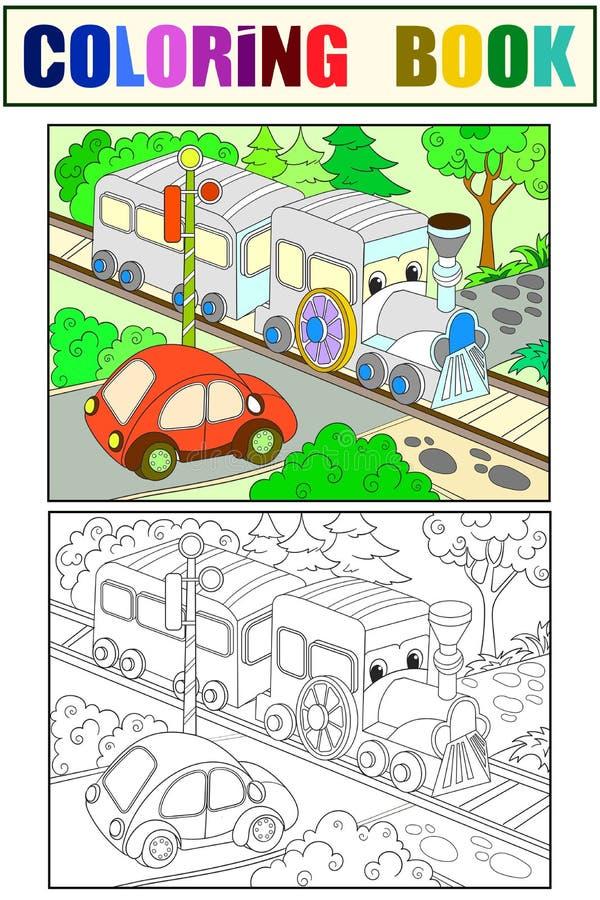 动画片火车和汽车着色,孩子的黑白书上色传染媒介例证 向量例证